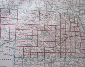 1891 Map- Nebraska/Minnesota- Antique Atlas Page 2-Sided 11 x 14.5 in Unframed Wall Decor