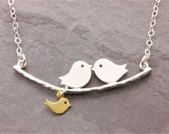 Love Bird Necklace with one baby bird