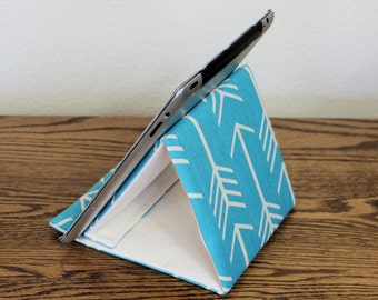 Tablet Stand, Gadget Support, Padded iPad Stand, Folds Flat! Turquoise Arrows Cotton Duck Fabric. Tech Support Triangle