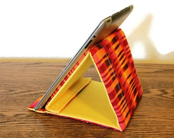 Tablet Stand, iPad Stand, Padded Gadget Support, Tech Support Triangle,  Psychedelic Orange Cotton Fabric