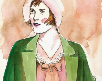 Original watercolor portrait - Anne  with Cloche Hat, flapper style