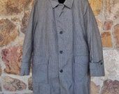 Mens Checkered Over Coat Vintage 70s Zip Fur Lining Size 40