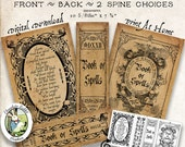 Halloween Spell Book Vintage Witch Style Digital Download Printable Image Clip Art Scrapbook Fabric Transfer Graphics Tag