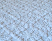 Beautiful Cabin Crafts White Wedding Ring and Pops Vintage Cotton Chenille Fabric Large Corner Cut