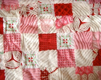 "CUSTOM ORDER QUILT Sample - ""Be My Love"" Vintage Cotton Chenille Patchwork Quilt"