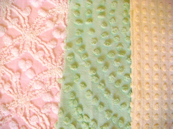 Pink, Green and Yellow Vintage Cotton Chenille Fabric 3 PC Set  SALE 25% OFF