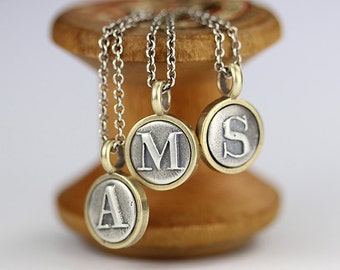 Tiny Initial Pendant, Tiny Initial Necklace, Silver Letter Necklace, Custom Initial Necklace, Personalized Necklace, Silver and Bronze