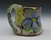 mug with purple flower with graffiti love copper green yellow rutile tan