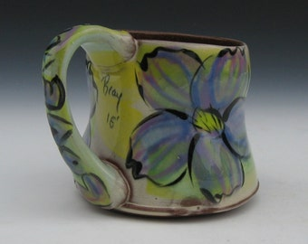 mug with purple flower with graffiti love copper green yellow rutile tan