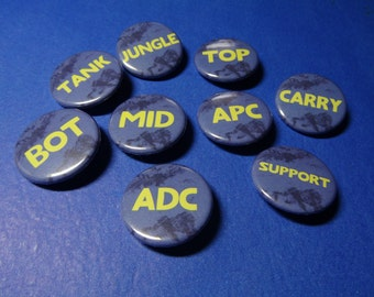 MOBA Gaming Roles Pinback Buttons (or Magnets)