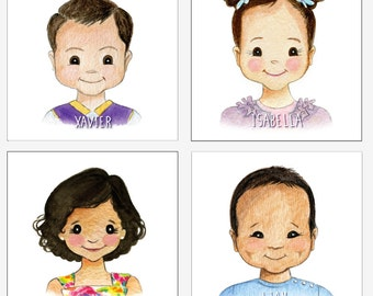 Kids Mini Cartoon Portrait - DIGITAL FILE