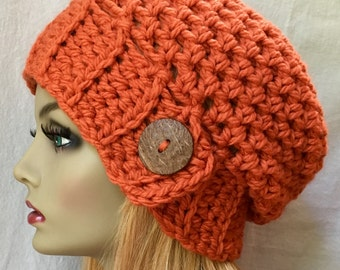SALE Crochet Womens Hat, Slouchy Beret, Orange, Chunky, Warm, Coconut Button, Teens, City Hat, Birthday Gifts for Her, JE477SBT7