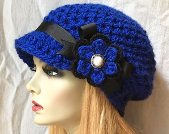 Crochet Womens Hat, Slouchy Newsboy, Royal Blue, Kansas City Royals, Chicago Cubs, Chunky, Warm. Teens, Winter, Gifts for HerJE699BF2