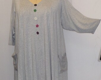 Coco and Juan,  Lagenlook,  Plus Size Top, Gray Cotton Knit Trapeze Tunic,  Size 1 (fits 1X/2X)  Bust 50 inches