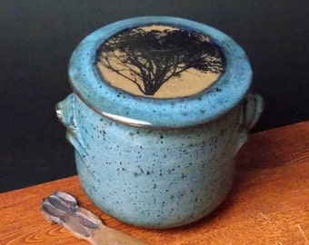 Large Stoneware French Butter Crock With Clay Knife ~ Classic Tree Design ~ holds 2 sticks ~