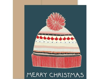 Merry Christmas Hat Christmas Card, Christmas Card, Stocking Cap Card, Holiday Card, Christmas Greeting Card, Happy Holiday Card