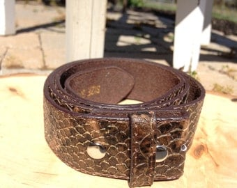 Brown Faux Reptile Print Bonded Leather Belt Strap
