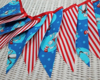 Free USA Shipping/Dr Seuss Fabric Banner/Dr Seuss Cat In The Hat Banner/Red and Aqua Banner/Photo Prop/Banner/Nursery Banner/Dr Seuss Party