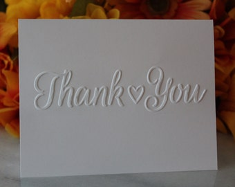Thank You Note Cards w/ Envelopes - Lovely Embossed Thank You Notes For Wedding, Birthday, Baby Shower or Bridal Shower. FREE SHIPPING