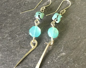 Sticks ans Stones Blue Chalcedony and Turquoise Argentium Silver Earrings