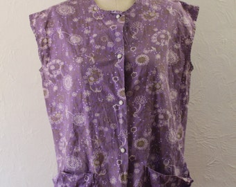 Vintage Apron Smock - Purple and Gold Snap Front Apron with Pockets