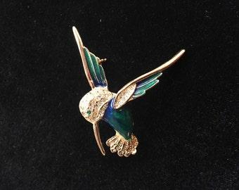 Vintage Designer Roman Enamel Rhinestone Hummingbird Pin