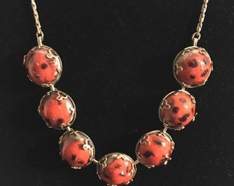 Vintage Red and Black Spotted Cabochon Necklace 1950s