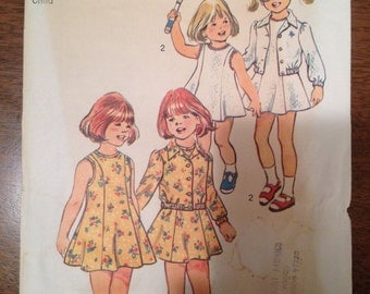 Simplicity 6241  Size 2  Childs Dress and Unlined Jacket.    1970's Sewing Pattern