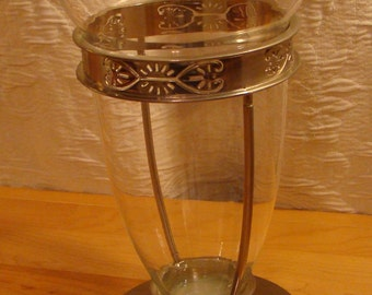 Vintage Large Chrome and Glass Vase - 1950s