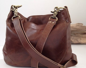UKSANA - Leather Bag - Leather Hobo Bag - Brown Leather Crossbody - Boho Chic - Boho Bag - Womens Purse - Womens Crossbody - More Colors