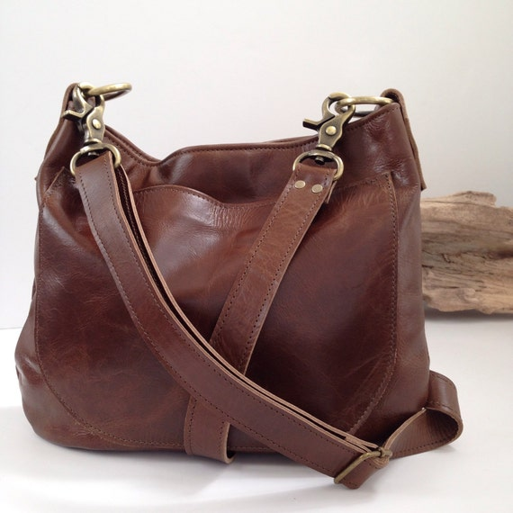 Uksana Leather Hobo Bag Brown Leather Crossbody Leather