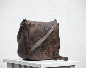 brown leather messenger bag womens leather messenger, mens crossbody bag, marble leather purse shoulder bag, leather bag, purse fall fashion