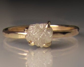 Raw Diamond Engagement Ring, 14k and 10k Yellow Gold Rough Diamond Ring, White Raw Diamond Ring