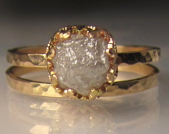 Raw Diamond Engagement Ring 14k Gold, 2.50CTS Rough Diamond Ring, Hammered Diamond Engagement Ring