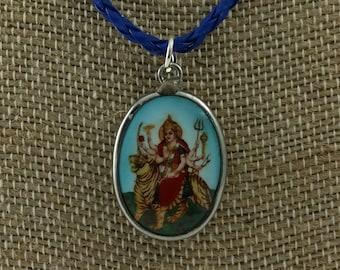"""Hindu goddess Gurga Enamel pendant on 16"""" vegan cord."""