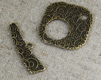 10 sets Antique Bronze Square Toggle Clasp free UK shipping