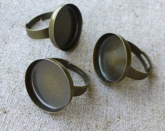 5 pcs Bronze tone Ring Component Smooth Setting Base