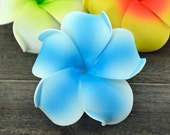 Plumeria Hair Clip, 3 inch, Pink   Flower Clip,    Hair Accessory, Blue Plumeria