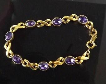 Vintage Bracelet,, Purple Amethyst Rhinestones, Signed Bracelet, Signed Jewelry, Costume Jewelry, Purple Rhinestone Jewelry Accessories
