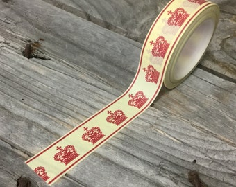 Washi Tape - 15mm - Royal Red Crowns on Cream - Deco Paper Tape No. 434