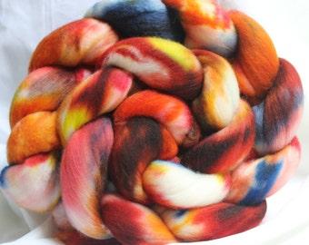 hand dyed Superwash merino combed top/ roving 4.2 oz