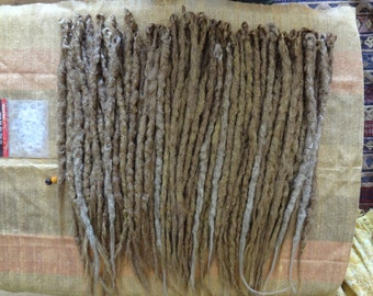 Golden Dark Blonde Synthetic Dreadlock Extensions. Full head of 70 knotty Synthetic dreads. Realistic Hair Extensions. Made Ready to ship