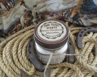 Warm Christmas Memories - 4 oz western Texas cowboy candle