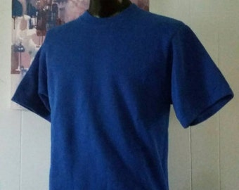 Rare Sweatshirt Tee By Hanes Royal Blue Top Sports 80s Workout Shirt TShirt Gym Medium LARGE