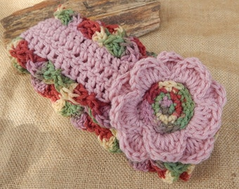 Crocheted Scarf with Flowers ~ Soft Rose and Summerset Scarf with Flowers  ~  Crocheted Scarf  ~ Crocheted Winter Scarf ~Spring Scarf