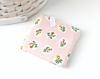 Pretty Pink Floral Coin Purse Floral Change Purse Floral Gift Card Holder