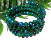 Memory Wrap Bracelet,Gemstone Bracelet,Green Bracelet,Stacked Bracelet,Jewelry Bracelet,Ladies Bracelet,Memory Wire,Chrysocalla Bracelet