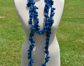 Blue Flower and Vine Scarf, Crochet Necklace, Long Crochet Scarf, Long Scarf, Flower Necklace, Flower Scarf