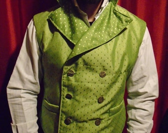 """Steampunk Classic Sweeny Todd  Spring Green Silk Waistcoat 40- 44"""" Chest."""