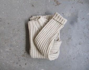 90s vintage bone white wide rib knit sweater M